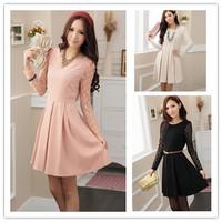 2014  fashion women's dresses Polka Dot gauze ladies long-sleeved dress free shipping