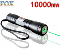 Free shipping 10000mw Green laser pointer Focusable Green laser Torch burn matches  532nm