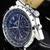 HK Post Or SG Post 2013 NEW STEAMPUNK Elegant Black 6 Hands  Leather Strap Automatic Mechanical Men's Watch Free Shipping