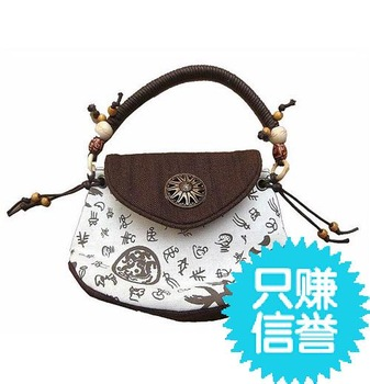 National trend casual fashion struggled wooden bead accessories handbag women's small bags