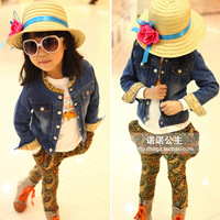 Children's clothing female child denim outerwear 2013 spring lace collar water wash wearing white denim coat c