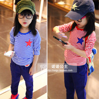 2012 autumn red navy stripe round neck T-shirt stripe basic shirt i1