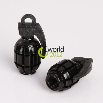 4 x Metal Grenade Design Car Motorcycle Bike Tire Tyre Valve Dust Caps Black