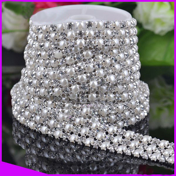 3Q13143,Rhinestone pearl trimming mesh 3 Rows with peal and ss19 Crystal Silver base 5y/roll CPAM free Sewing rhinestone mesh(China (Mainland))