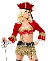 Sexy Pirate Maiden Costume Ruffle Dress Corset Game uniforms fun underwear Uniform
