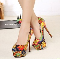 Free shipping 2013 spring symphony transpierce stiletto women's single shoes Laides platform colorful cloth face pumps35-39 L409