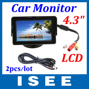 """Christmas 2pcs/lot 4.3"""" Color LCD Car Rearview Monitor with LED blacklight for Camera DVD VCR Free shipping China post"""