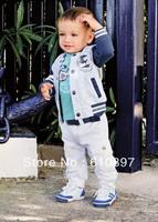 2013 Wholesale 3-pcs 100%cotton baby clothes suit kids clothing set (T shirt +coat+pants),5 set/lot,Free Shipping