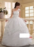 195 vestido de noiva 2014    romantic fashionable sexy  bow appliques tiered lace up print wedding dress   bride bridal gown