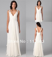 Free Shipping White V Neck Sleeveless Floor Length Chiffon Prom Dress WH183