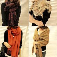 2012 autumn and winter women's yarn muffler scarf cape dual-use ultra long plaid scarf
