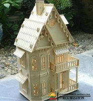 DIY 3d puzzle toy Gothic villa castle Manual assembles toy  wooden puzzle