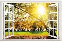Scenery HD Pattern window sticker 70*46cm sofa background bedroom pvc  wall sticker  fj-8