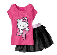 2013 New Free shipping 5sets/lot,100% cotton children cartoon  suits short sleeve t-shirt+short skirt,Children clothing set