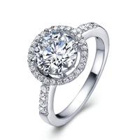 2Carat Ladies  s925 silver rings Wedding ring 18k white gold FRlEESHIPPING