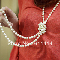 accessories female long design pearl string necklace,fashion grape tieclasps necklace