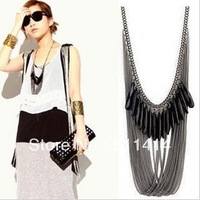 NEW!!flower necklace vintage fashion black gem multi-layer tassel necklace