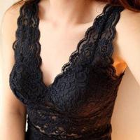 2 wireless bra spaghetti strap belt pad sexy V-neck low-cut cutout full lace vest