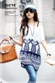 2013 Big Promotional!!!Maternity Women Summer Wear White And Blue Pattern Long Top Free Shipping(China (Mainland))