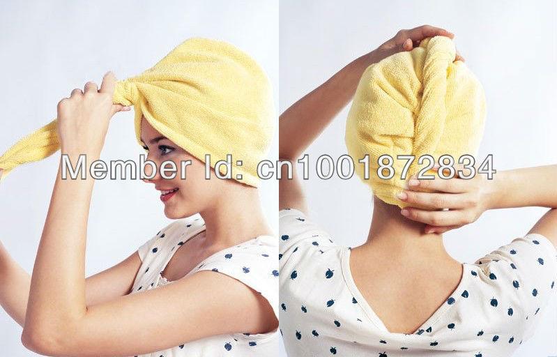 Microfiber Magic Hair Dry Drying Turban Wrap Towel/Hat/Cap Quick Dry Dryer Bath(China (Mainland))