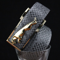 Drop Shipping!High Quality Men's Genuine Leather Belts ,Trend Design Golden Jaguar Buckle Unisex Snake Pattern Belt, J-001B