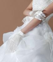 Wedding Bridal Ivory Finger Elastic Satino Bow Lace Gloves satin stockings short