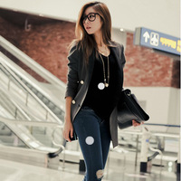 high  street 0082 # 2014 spring new Korean Hot V-neck stitching shoulder pads long-sleeved suit jacket