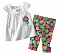 baby summer short sleeve triangle T-shirt+flower pants 2pcs clothing set children lesiure cotton wears 6sets/lot drop shipping