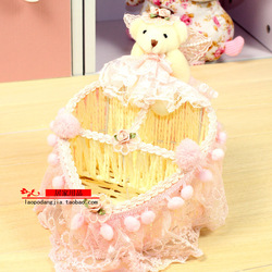 Organizer toys Rattan basket storage remote control jewelry Heart bear hair ball Easter boxes(China (Mainland))
