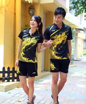 A set LI-NING Men's and Women's table tennis shirt+shorts ping pong shirt table tennis 003