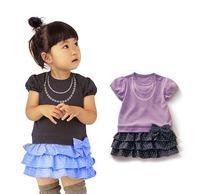 Free shipping200 pearl chain short-sleeved  cake skirt girls ladies skirt bow skirt wave point