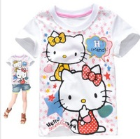 Free shipping Wholesale 2014 hello kitty girls T shirt in summer, short sleeve baby girls summer tees,children summer T-shirt.