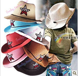 children straw hats cowboy kids bucket hats five pointed star hat fedoras straw braid cap kc  Free shipping over 15 $