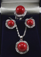 South Seas sallei pearl 14mm red sallei pearl set gift belt chain 2