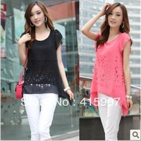 Free shipping!Corea Set auger Hollow out loose short sleeve T shirt Four color M L Size