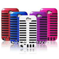 Retro Microphone Silicone inner + plastic hard Case cover For Samsung GALAXY NOTE 2 II N7100 ,200pcs/lot , DHL Free Shipping