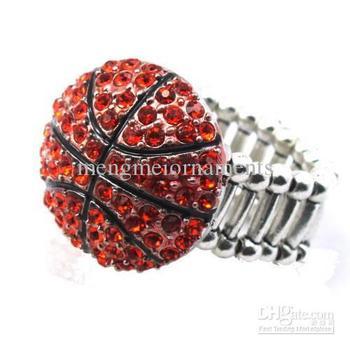 light orange enamel  the basektball rings crystal finger sports stretch mens ring free size