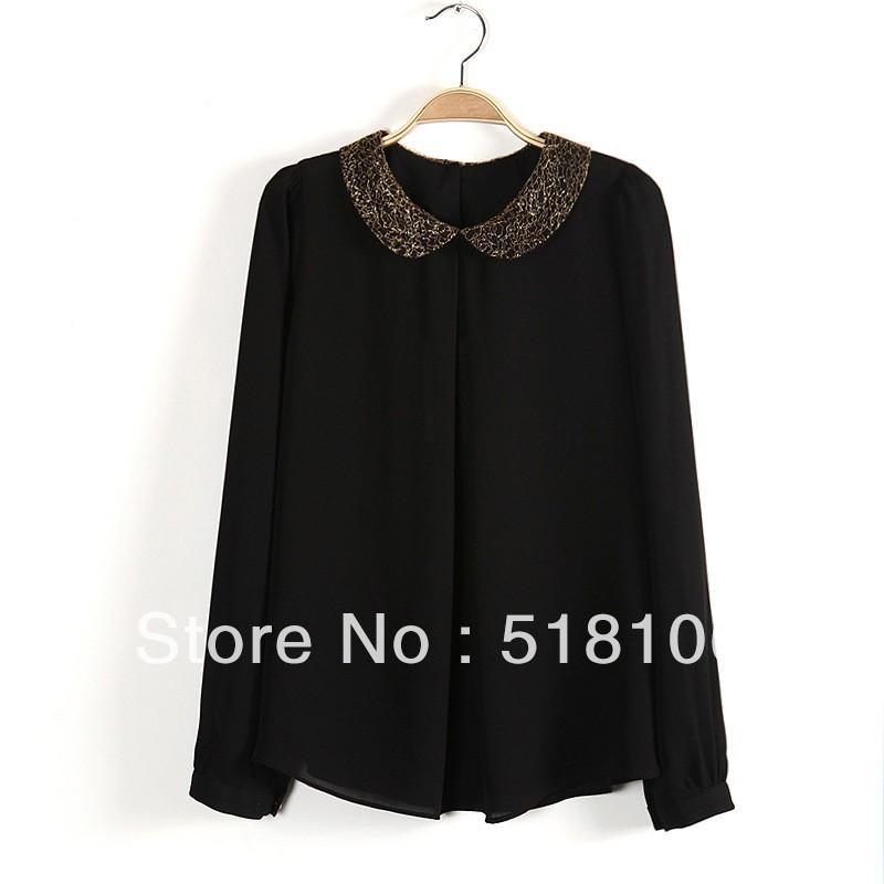 Free shipping Hemp fabric turn-down collar Metal Cufflink ladies' shirt women's Full-Sleeve Solid clothing wholesaler(China (Mainland))