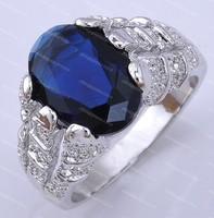 Brand New sapphire men's 10KT white Gold Filled Ring sz10