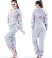 British Style Unisex one piece Jumpsuit  / Adult Fleece Hoodies /  Oversize /Grey +Print romper women