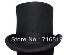 High Black top hat 100% wool felt and high quality and fashion for men's and ladies and kids for small wholesale 15CM height(China (Mainland))