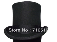 High Black top hat 100% wool felt and high quality and fashion for men's and ladies and kids for small wholesale 15CM height