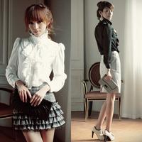 Brand Noble Luxury Victorian Tops Women Shirt Ruffle Flounce Ladies Blouse