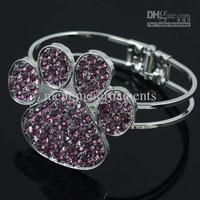 3pcs 10colors dollar size animal print dog cat  paw jewelry cuff folder zinc alloy metal crystal bangle bracelet