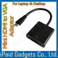 100 Pcs  - Black  Mini HDMI Male Input to Female VGA Outout Converter - MiniHDMI 1080P - Without Audio Cable HDTV Laptop Desktop