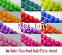 U Pick! 500Pcs 4mm Rubber Glass Round Beads Pattern Glass Loose Beads Simulated Stone Beads Jewelry Accessories