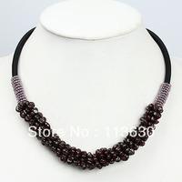 "20"" Chip Garnet Gemstone Knitted Adjustable Necklace 1p"