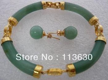 beautiful gold plate green jade earrings bracelet