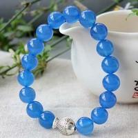 Blue agate bracelet stone male Women vintage