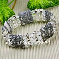 "7"" Howlite Turquoise Crystal Bracelet Stretchy Gemstone 5 pairs"